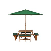 Bộ bàn ghế băng liền ngoài trời có lổ cắm dù