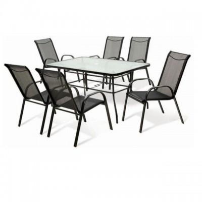 Bộ bàn ghế nhôm lưới 6 người ngồi