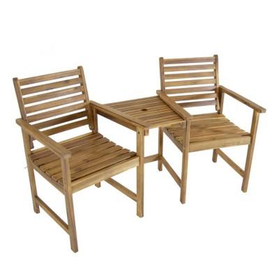 Bộ bàn ghế gỗ xếp có lỗ cắm dù