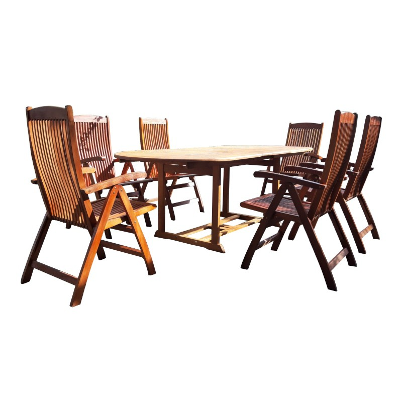 Bộ bàn ghế gỗ ngoài trời 03